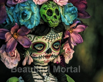 Beautiful Mortal Mysterious Dia De Los Muertos Flower Doll Canon PRINT 461 Reproduction by Michael Brown
