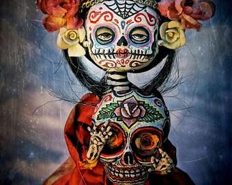 Beautiful Mortal Dia De Los Muertos Sugar Skull Dolly Holding Skull Canon PRINT 420 by Michael Brown