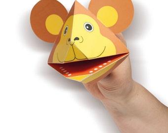DIY lion, zebra, giraffe, rhino, monkey, tiger, crocodile puppet - downloadable pdf