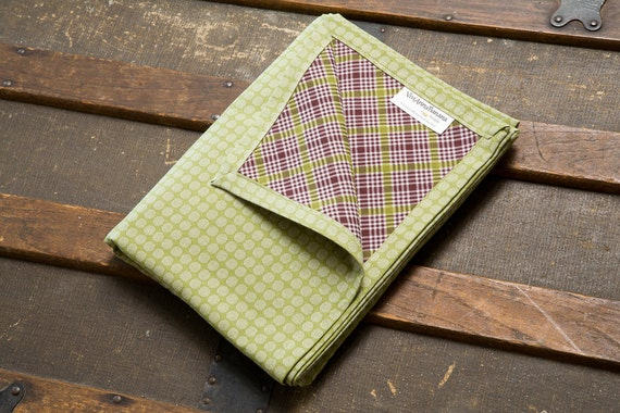 Baby Blanket - Super Soft Double Layer 100% Cotton in Olive Green Dot/Brown & Green Plaid