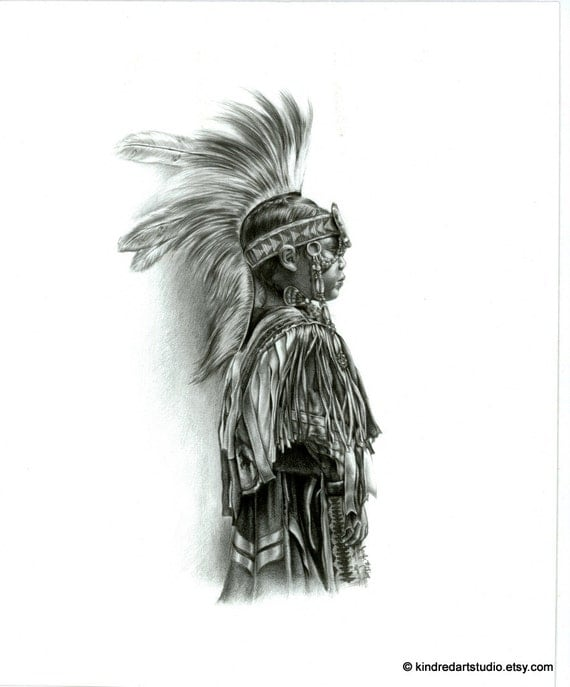 Native American Indian Boy Art Print from Original Pencil Drawing