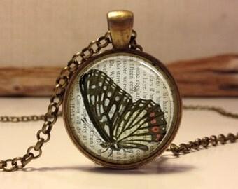 Butterfly necklace.  Butterfly art pendant jewelry(Butterfly#12)