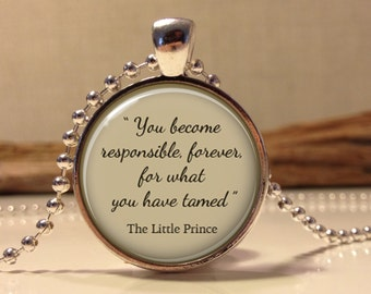 The Little Prince quote pendant. Inspirational words necklace. Le Petit Prince necklace