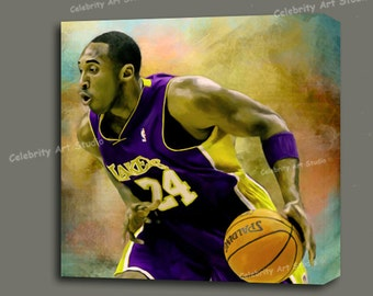 """Kobe Bryant: Fade Away To The Basket  Canvas Giclee, Acrylic Art W Gallery Wrap Ready To Hang Up To Size 36X36X1.5"""""""
