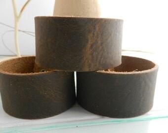 Wholesale 1.25 Inch Wide Genuine DARK BROWN oil tan Leather Cuff Bracelet - Cuff Wristband -3 Cuff Blank