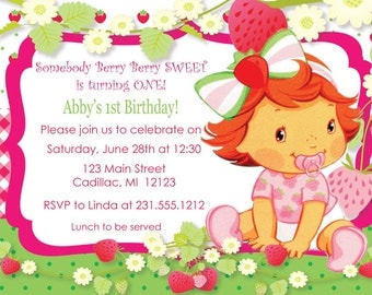 Strawberry Girl First Birthday Invitations - Strawberry Girl 1st Birthday Invitation