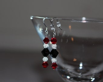 Red & Black Swarovski Crystal Earrings