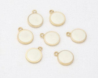 BEST-8mm Round Ivory Epoxy Pendant Polished Gold-Plated - 2Pieces [P0342-PGIV]
