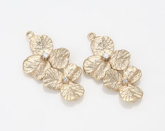 Cubic Cascading Flower Brass Connector, Pendant Matte Gold-Plated - 2 Pieces[AA0042-MG]