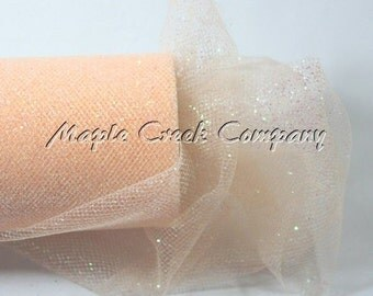 PEACH Glitter Tulle Roll 6in x 30ft - Sparkling Tulle (10 yards)
