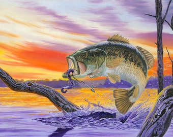Bass Splash Bass Fish Art Print, Bass Art, Bass Fishing Art Print Fishing Wall Decor, Fishing art, Fishing Poster, Bass art print, Bass Fish