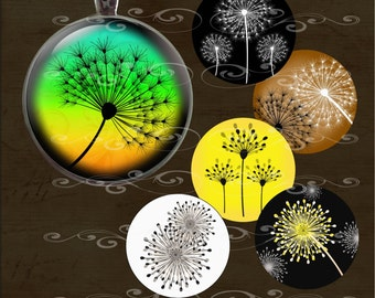 Dandelions- One Inch Round- Instant Download-Digital Collage Sheet for Pendants, Magnets, Bottle Caps, Paper Crafts