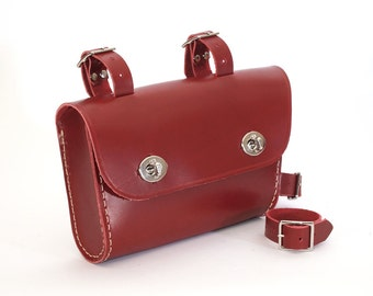 Hand Made Top Tube Bicycle Bag, Red Leather