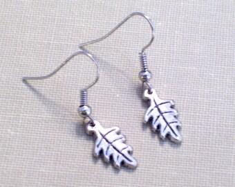 Antiqued Silver Leaf Earrings, Little Silver Leaf Charms, Pierced Earrings