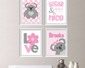 Baby Girl Nursery Art  Print - Koala Nursery Art - Koala Baby - Koala Nursery Decor - Koala Bedroom Art - Koala Bear - Pink Gray  (NS-241)