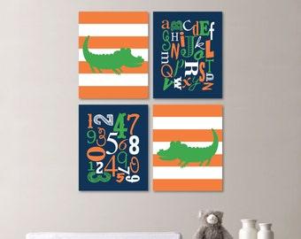 Baby Boy Nursery Art Print - Stripe Alligator Nursery Prints - Alphabet Nursery Prints - Nursery Decor -  You Pick the Size (NS-507)