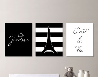 Baby Girl Nursery Print - Black and White Art - Nursery Art - Paris Nursery - Paris Nursery Print - Eiffel Tower - You Pick the Size(NS-526)