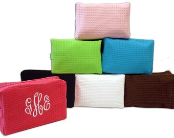 Personalized Waffle Weave Cosmetic Bag- Close Out Sale!!