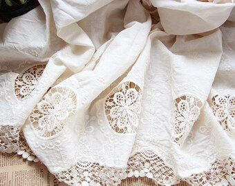 Eyelet Cotton Lace Fabric in White, Retro Hollowed Flower Lace Embroidery Fabric Eyelet Lace E1501