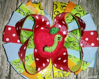 Girls Back To School First Day of School Boutique Bow! Apple and Worm! Hairbow with Feltie Center Kindergarten First Grade Second Third