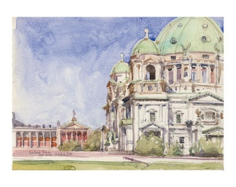 Berlin Achitectural drawing - PRINT watercolour drawing of Berliner Dom, Berlin's Cathedral sketch architectural urban sketch by Catalina.
