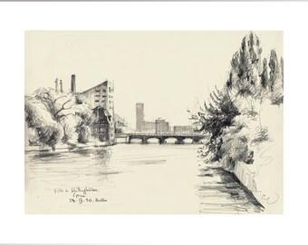 Berlin pencil drawing - PRINT of my original pencil drawing Berlin Bridge over the Spree - urbansketch of Berlin by Catalina.