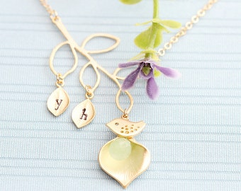 Gold or Rhodium Plated, Simple Leaf Branch, Two Stamped Initials on Leaf, Sparrow Charm, Calla Flower with Bead, Necklace
