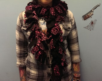 hot pink leopard print fleece scarf