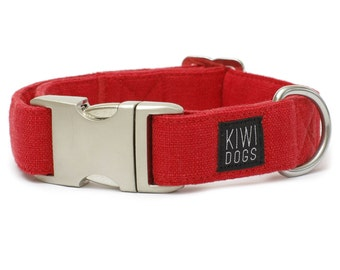 Chilli ORIENT buckle dog collar - soft linen natural dog collar with aluminum buckle