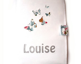 Protects health leatherette white flight of butterflies customizable book