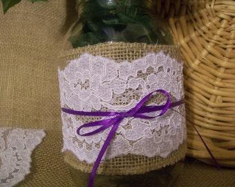 5 Burlap and Lace Mason Jar Sleeves with ribbon