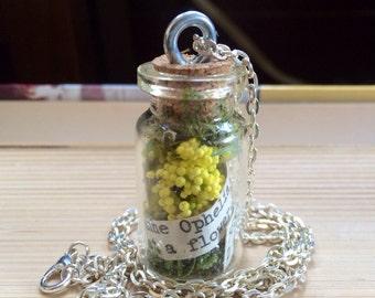 Floral Terranium Card catalog bottle necklaces-botany themed