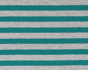 SALE! 3.00/Yard - KNIT Teal Blue Heather Gray Stripe Jersey Knit Fabric, Super Soft Cotton Blend Jersey Knit - Sold by the yard 5031