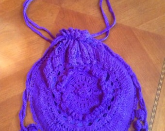 Flower Burst Drawstring Purse--Purple---Vintage Pattern--Crocheted.