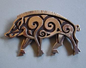 Boar Brooch or Pendant in Bronze