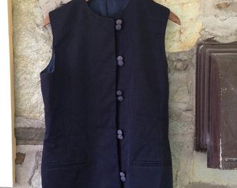 Navy Vintage Oriental Style Buttoned Long Vest