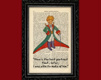 The Little Prince Book Art Print Le Petit Prince baby shower gif Nursery wall decor Dictionary Art for children price art poster (Nº16)