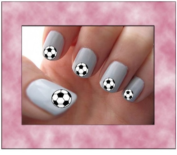 Items similar to Soccer Ball Nail Art Water Slide Transfers Game Sport Team  Manicure Nail Stickers Wraps 40 Decals on Etsy - Items Similar To Soccer Ball Nail Art Water Slide Transfers Game