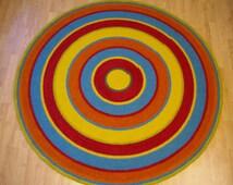 Large crochet round rug, 61'' (156 cm)/Crochet Rug/Rugs/Rug/Area Rugs/Floor Rugs/Large Rugs/Handmade Rug/Carpet/Wool Rug