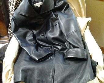 A Valerie Stevens lambskin leather coat