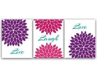 Home Decor Wall Art, Live Laugh Love, Purple Wall Art, Flower Burst Bedroom Wall Decor, Purple and Pink Bedroom Wall Art - HOME34