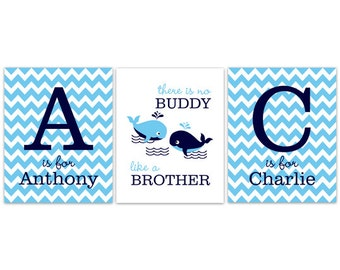 Nursery Wall Art, Brothers CANVAS Wall Art, Brothers Quote, Boys Monogram Art, Whale Nursery, Twin Boys Wall Art, Boys Room Decor - KIDS143