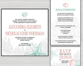 coral and seashells wedding invitation, wedding invite- beach themed, starfish, paper goods, mint and coral invitation, casual wedding
