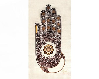 Wall Hanging Batik Tapestry - Buddha Abhaya Mudra Hand gesture, Fatima Hamsa hand, Acrylic silkscreen, Symbol of Protection &Peace,