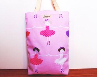 Kids library bag / lesson tote bag Ballerina, Australian made, lesson bag, pink