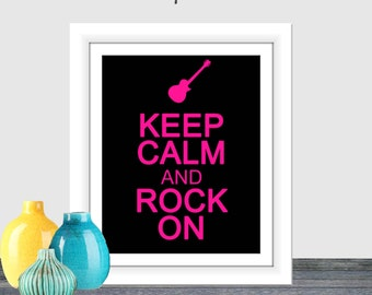 Keep Calm and Rock On Black Hot Pink Home Decor Printable Wall Art Keep Calm and Guitar Decor Electric Guitar Printable 8x10 16x20 poster