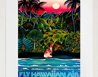 Hawaii Art Retro Poster Art Travel Poster Wall Art Print (ZT486)