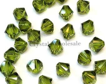 Olivine (228) Swarovski Elements 5328 / 5301 5mm Crystal Xilion Bicone Beads ** FREE Shipping