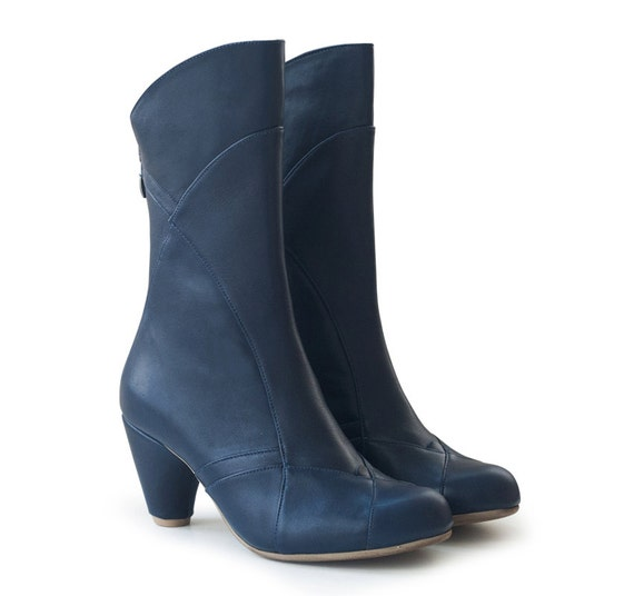 SALE! 30% off! Boots Dark Blue Kim , leather shoes, handmade shoes. Women shoes, free shipping.