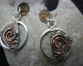 Earrings sterling silver reticulated with copper smelting